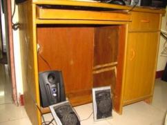 Computer table and Cupboard