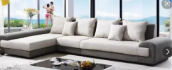 Brand new modern designer L shape sofa set with center table
