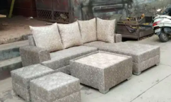 EXOTIC Brand new L shape sofa set with center table & puffy