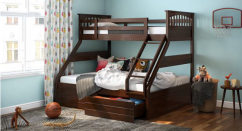 Single Over Queen Storage Bunk Bed
