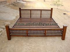 Iron jali wooden double beds