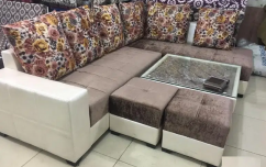 New L-shape sofa set with centre table with 2 puffy