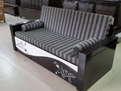 New designer wooden sofa cum bed with bonded hard mattress