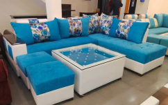 New designer sofa set L-shap complete with glass top center table