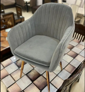 Suede Fabric Chairs with Stainless Steel Legs