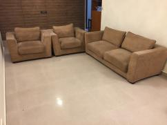 5 Seater Brown Fabric Modern Sofa Set