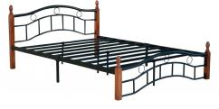 Queen Size Metal Bed Frame with Wood Post Oak Finish