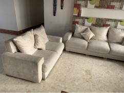 L shape 8 seater fabric sofa