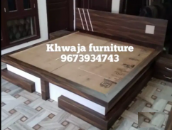 King size plywood bed with lamp table
