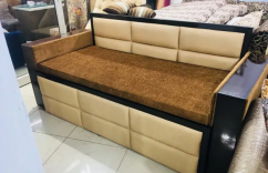 Sofa cum bed with heavy polish arms with sleep well mattress