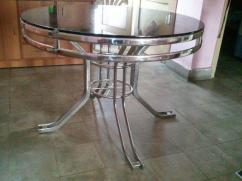 Dining Table with High Quality Float Glass top.