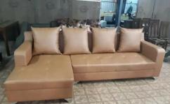Brown leatherette l sofa