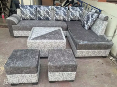 Sofa set corner center table and puffies