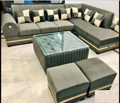 brand new desiner L shape sofa set with center table & puffies