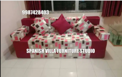 Exclusive pattern of fabric Sofa cum bed with 3 pillows