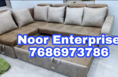 Beige an chocolate colour premium fabric L. Bed sofa with cusion
