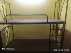 Steel Bunker Cot with ladder with the colour black
