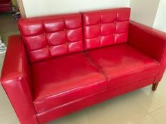 Cherry Red Long Back Red Comfort Leather Upholstered Sofa