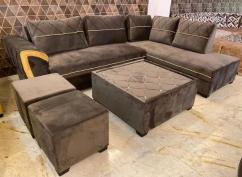 L corner sofa with center table