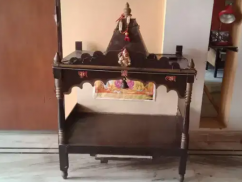 Wooden mandir with light bulb holder and switch