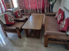 Wooden Sofa Set with Wooden Center Table