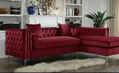 Red CHESTERFIELD L shape sofa with 5 years of warranty
