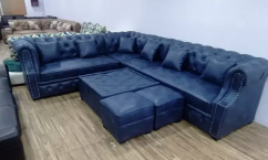 L shape Chester sofa with center table and puffies