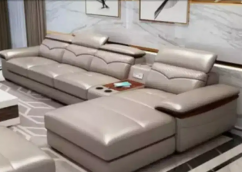 Leather sofa set with lounger