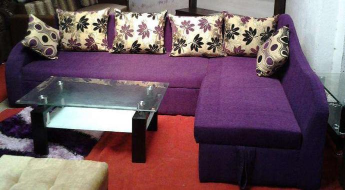 L Shaped Sofa In Purple Colour