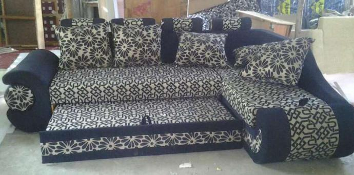 Corner Sofa Set Cum Bed In Classic Design