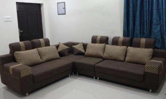 Brand New L Shaped Sofa Set In Jute Fabric Pune Zamroo