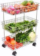 3Tier Stainless Steel Multipurpose Fruits Vegetable Trolly