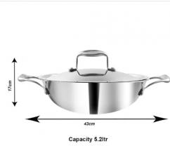Platinum Triply Kadai With Lid, 32 Cm, 5.2 Liter, Silver