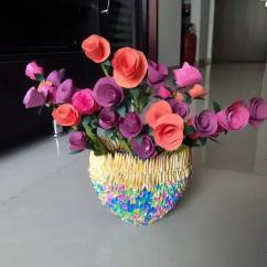 beautiful flower vase made of paper