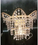 Italian Crystal Gold Plated Lamp Shade for sale