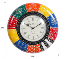 Wooden colourful wall clock