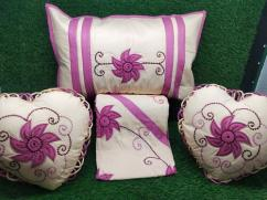 Colour embroidery cushion set vid fancy kundle work