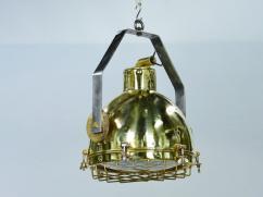 Brass Cargo Pendant Light With Brass Cage & Iron Bracket
