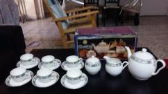 Bone China Crockery with tea kettle and other containers