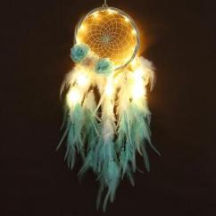 Turquoise Feathers LED Dreamcatcher