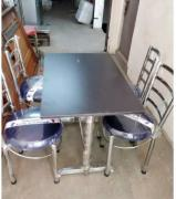Restaurant Fresh Steel Chairs in Black Cushions & Tables in Brown top
