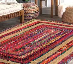 Hand Woven Jute & Cotton Chind Rectangle Carpets