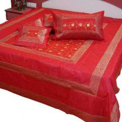 5 Piece Red Jaipuri Silk Double Bed Cover Set