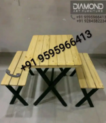 CAFE HOTEL RESTAURANT PINE NATURAL POLISH TABLE BENCH SET