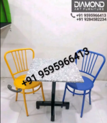 RESTAURANT IMPORTED MARBLE TABLE WITH METAL CHAIRS SET