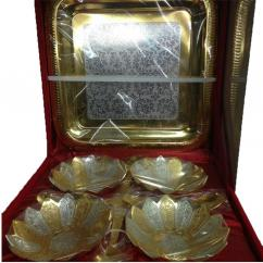 Brass Silver And Gold Plated 4 Bowl Set, Rs 750 /box