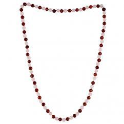 Satyamani Natural Rose Quartz and Red Jasper Semi-precious Stone Mala