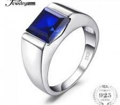 Silver Blue Saphire Ring for Men