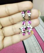 pink hanging earings