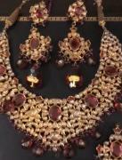 Real gold diamond polki wedding jewellery set